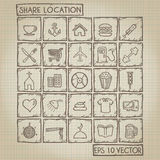 Share Location Icon Doodle Set Royalty Free Stock Image