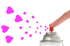Share the love. Spray can and hearts royalty free stock photo