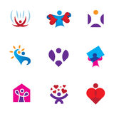 Share love emotion heart shape environmental awareness logo icon set Royalty Free Stock Photo