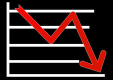 Share market. Down arrow in red color with white stripes  eps Royalty Free Stock Image