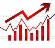 Share market. Arrow in red color with white stripes  eps Stock Photography