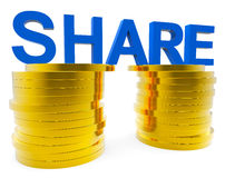 Share Money Shows Savings Increase And Advance Stock Photography