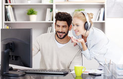 Share the music at the office Stock Photography