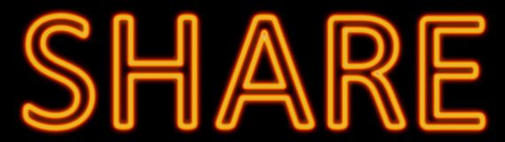 Share neon sign royalty free illustration