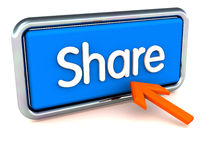 Share online concept. A button with chrome tube frame saying share with a mouse pointer pointing at it, online sharing and community concept Royalty Free Stock Photography