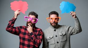 Share opinion speech bubble copy space. Comic and humor sense. Men with beard and mustache mature hipster wear funny. Eyeglasses. Explain humor concept. Funny stock photo