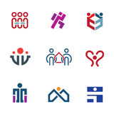 Share people community help for rebuilding society logo icon set Stock Image