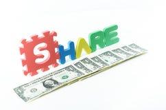 Share plus the dollar bills stock image