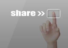 Share. Press share button on virtual screen stock illustration