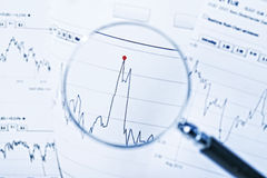 Share price in focus Stock Photography