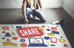 Share Sharing Portion Media Connection Feedback Concept Stock Images