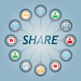 Share sign. With document icons - communication concept Royalty Free Stock Image
