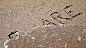 Share Sign On Beach Sand stock video footage
