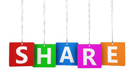 Share Sign Colorful Tags Stock Image