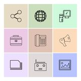 Share , speaker , telephone , image ,breifcase , computer, radio. Card ,icon, vector, design, flat, collection, style, creative, icons - This Vector EPS 10 vector illustration
