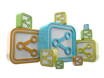 Share symbols 3d in group Royalty Free Stock Photos
