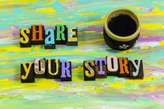 Share tell story storytelling time relax coffee cup break social