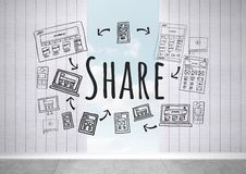 Share text with drawings graphics Stock Photos