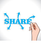 Share word with arrow in hand Stock Photos