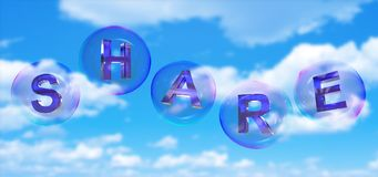 The share word in bubble. The share word in soap bubble on blue sky background,3d rendered Stock Images