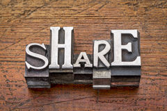 Share word in metal type Royalty Free Stock Images