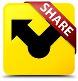 Share yellow square button red ribbon in corner. Share isolated on yellow square button with red ribbon in corner abstract illustration Royalty Free Stock Photography
