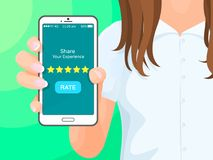 Share Your Experience Phone Vector Illustration. Share your experience, phone with application and button says rate, golden stars, smartphone in hands of woman vector illustration