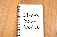 Share your voice write on notebook. Share your voice text concept write on notebook Stock Image