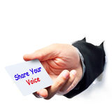 Share your voice. Write on paper note Royalty Free Stock Photography