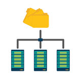 Shared archived folders data center related. Illustration Stock Photo