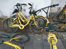 Shenzhen, China: Shared Bicycles Parked on the Street royalty free stock images