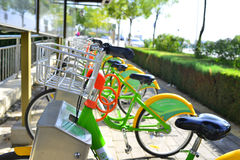 Shared bicycles. Offer convenient green traffic, in china Stock Images