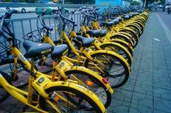 Street parking bike sharing. Stock Image