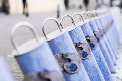 Shared bike rental station empty due to winter season in Warsaw stock photography