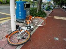 Shared bikes were thrown to the ground Stock Photo