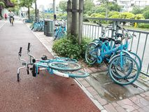 Shared bikes were thrown to the ground Stock Photography