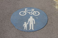 Shared cycle and pedestrian path sign Royalty Free Stock Images