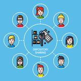Shared depository concept with group of people Royalty Free Stock Images