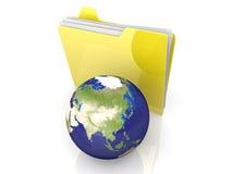 Shared Folder. 3D rendered Illustration. Global network folder - shared directory. Isolated on white Stock Photography