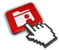 Shared Folder Icon. 3D illustration of Shared Folder Icon - Hand Cursor Click Stock Photos