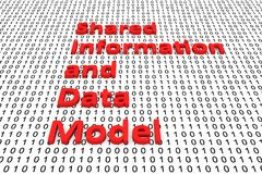 Shared information and data model. In the form of binary code, 3D illustration Royalty Free Stock Image
