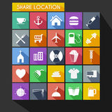 Shared Location Flat Icon Long Shadow Royalty Free Stock Image