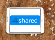 4shared online file sharing and storage logo. Logo of 4shared online file sharing and storage on samsung tablet royalty free stock photo