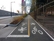 Shared Path, Bike Path, Walking Path, Two Way Crossing stock image