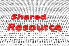 Shared resource. In the form of binary code, 3D illustration Stock Images
