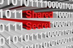 Shared secret. In the form of binary code, 3D illustration Royalty Free Stock Image