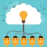 Shared Thought. Vector illustration of human head figures connected to a collective large brain of idea Royalty Free Stock Photo