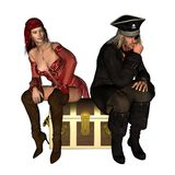 Shared Treasure. Digital render of a male and female pirate sitting on a treasure chest, trying to work out how to divide the loot stock illustration