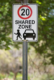 Shared zone road sign in Australia Royalty Free Stock Photography