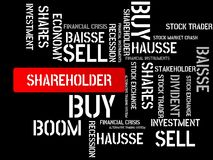 SHAREHOLDER - image with words associated with the topic STOCK EXCHANGE, word cloud, cube, letter, image, illustration Royalty Free Stock Image